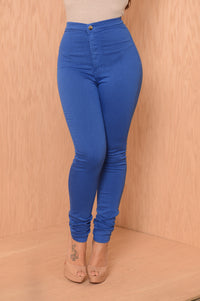 Super High Waist Denim Skinnies - Royal