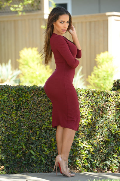 Keep It Together Dress - Burgundy