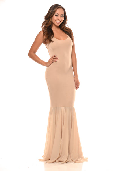 Sleeveless Fit and Flare Maxi - Khaki