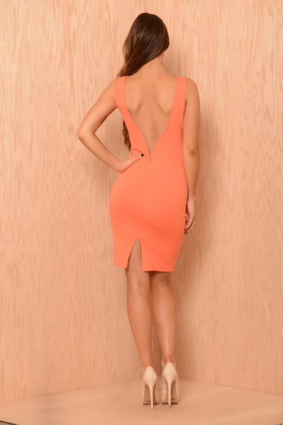 Drop it Low Dress - Peach