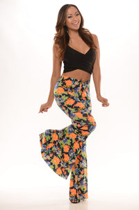 Fun Floral Flare Pants - Navy/Orange Angle 1