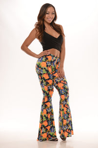 Fun Floral Flare Pants - Navy/Orange Angle 3