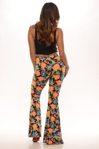 Fun Floral Flare Pants - Navy/Orange Angle 2