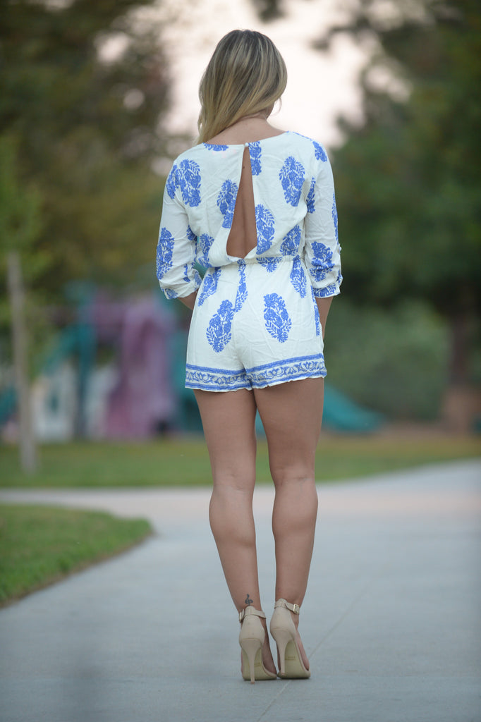 Day & Night Romper - Ivory/Blue