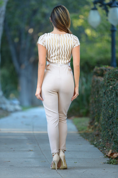 Eyes on Me Jumpsuit - Nude