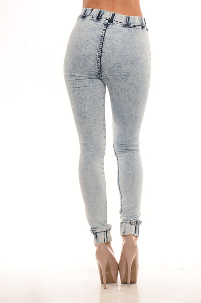 Distressed Jogger - Light Blue