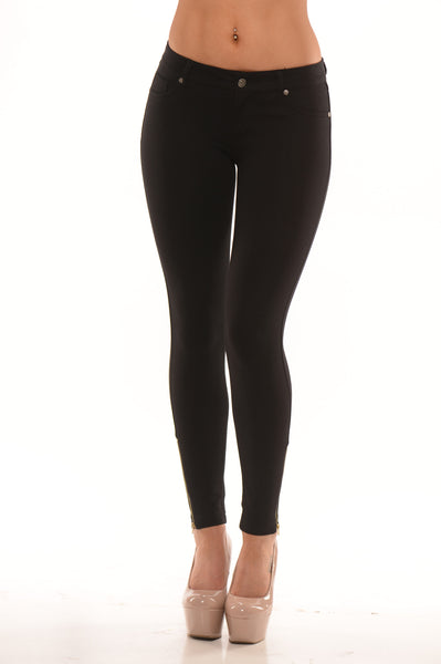 Zippered Ponte Pants - Black