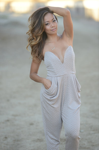 Textured Deep V Tube Long Jumpsuit - Beige