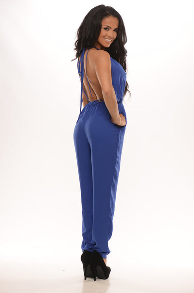 Check Me Out Jumpsuit - Royal Blue