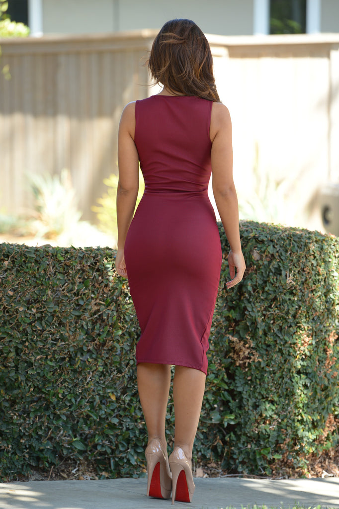 Hotline Dress - Burgundy