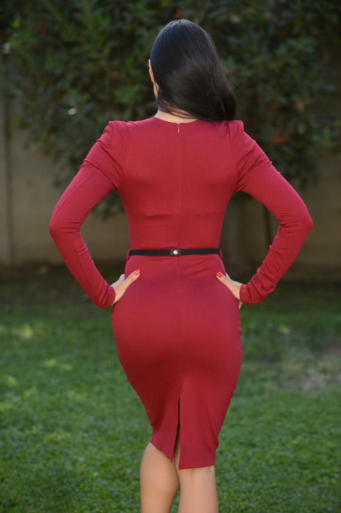 Like a Boss Dress - Burgundy