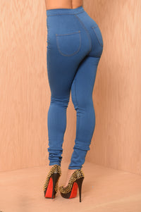 Super High Waisted Skinny Jeans - Medium Blue