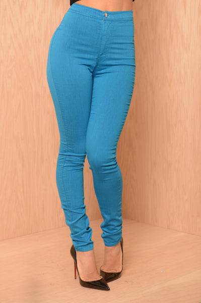 Super High Waist Denim Skinnies - Bright Blue