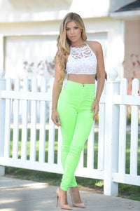 Super High Waist Denim Skinnies - Neon Green