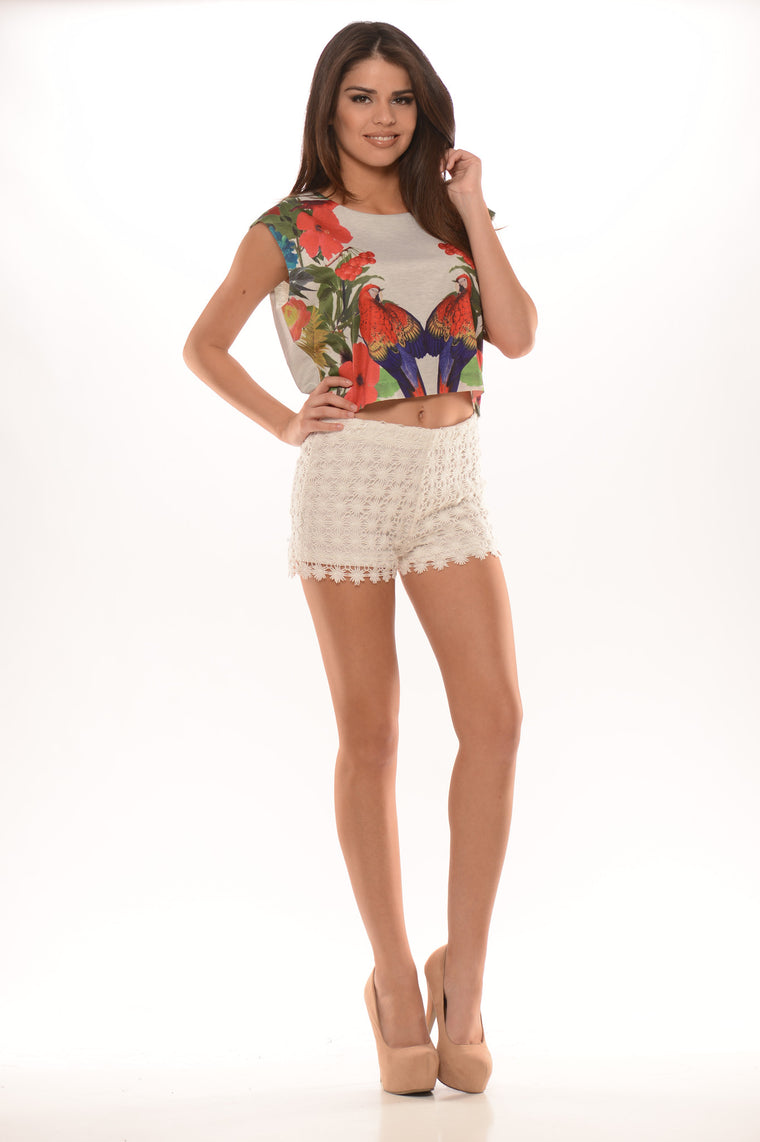 Flower Lace Shorts - White