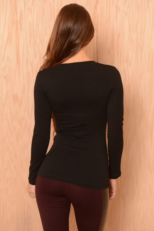 Basic V Neck Long Sleeve Tee - Black