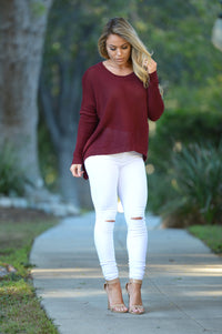 Miracle Mile Sweater - Burgundy Angle 1