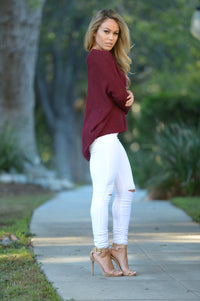 Miracle Mile Sweater - Burgundy Angle 5
