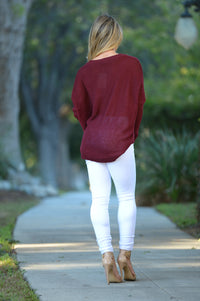Miracle Mile Sweater - Burgundy Angle 2