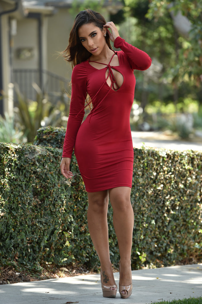 String Theory Dress - Burgundy