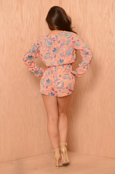 Lavender and Honey Romper - Coral