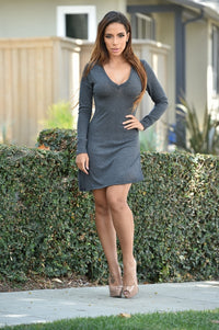 Heather V Dress - Charcoal