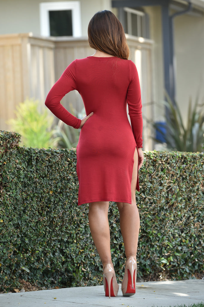 Heather V Dress - Burgundy