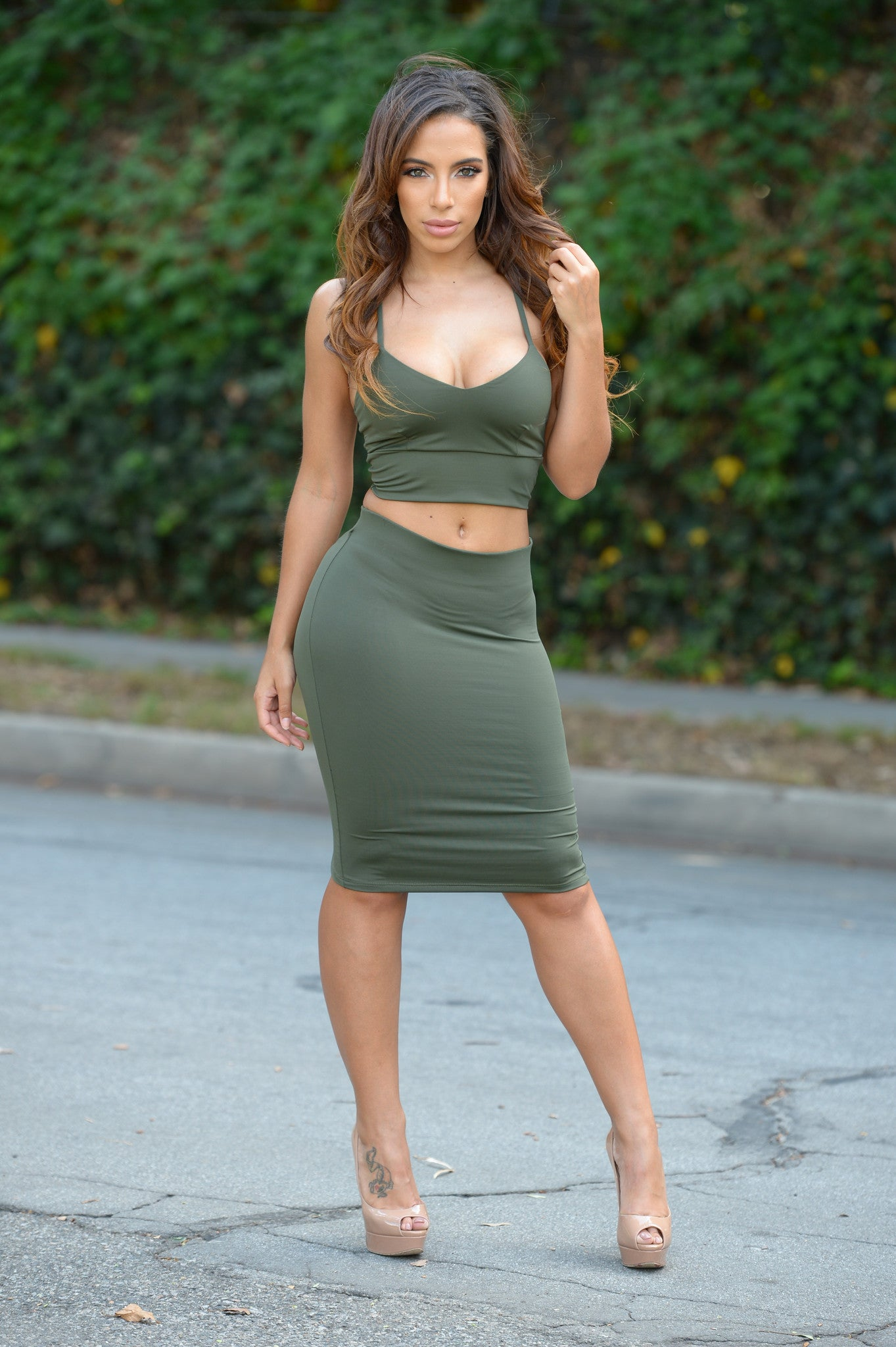 Smooth Down Skirt - Olive-5274