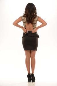 Cap Sleeve Peplum Dress - Black & Gold