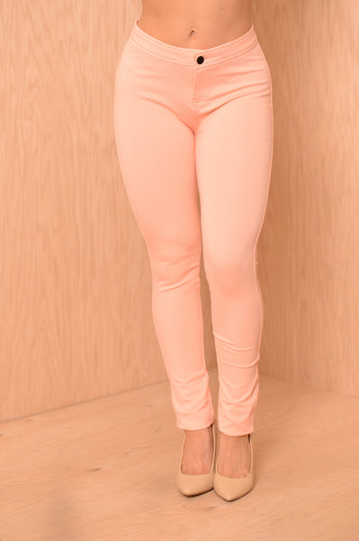 High Waisted Pants - Peach