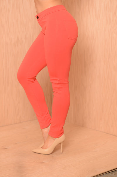 High Waisted Pants - Red Orange