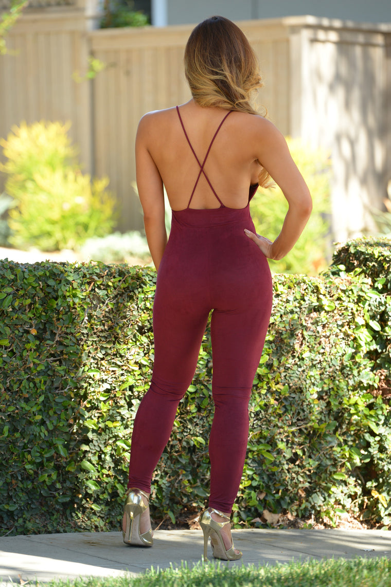 Velvet Rope Jumpsuit - Burgundy