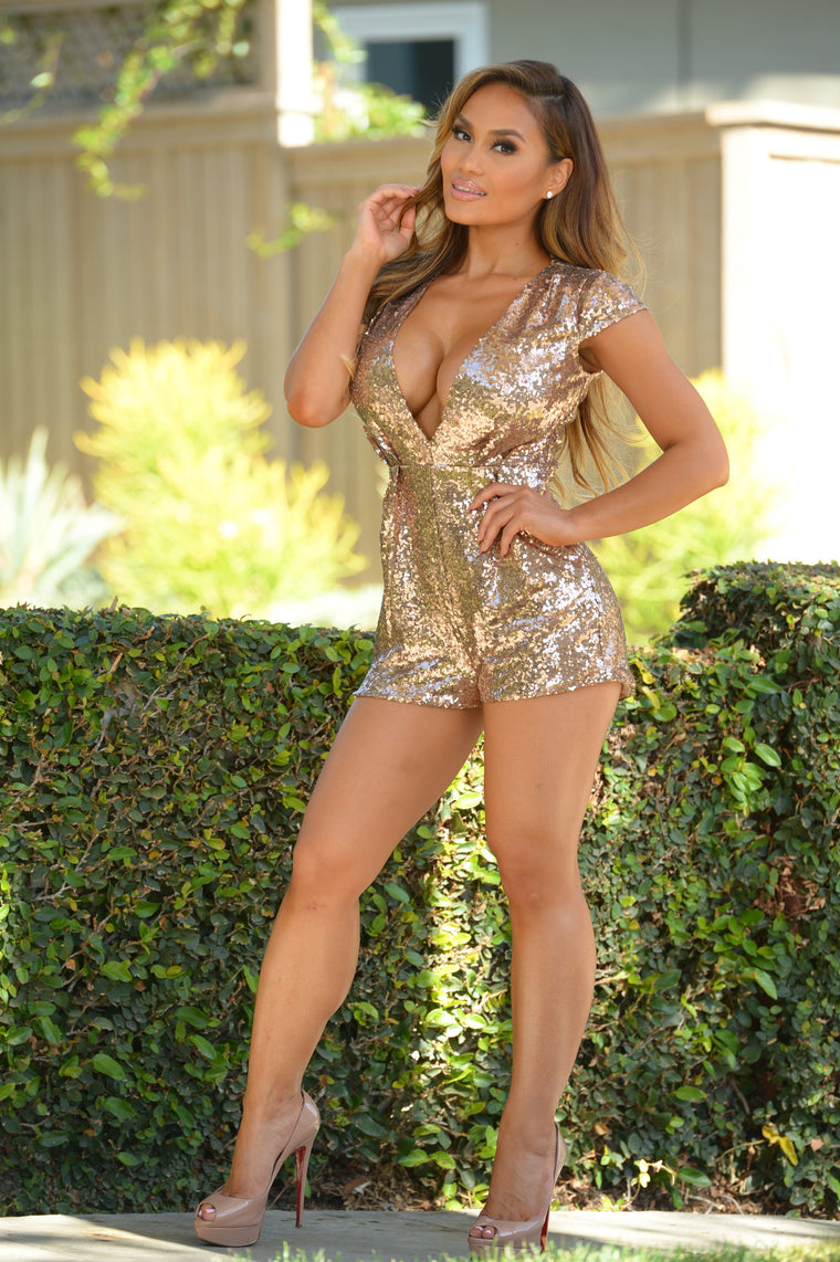 Glitz and Glam Romper - Rose God