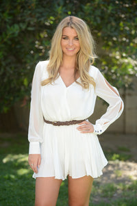 Never Growing Up Romper - Ivory Angle 5