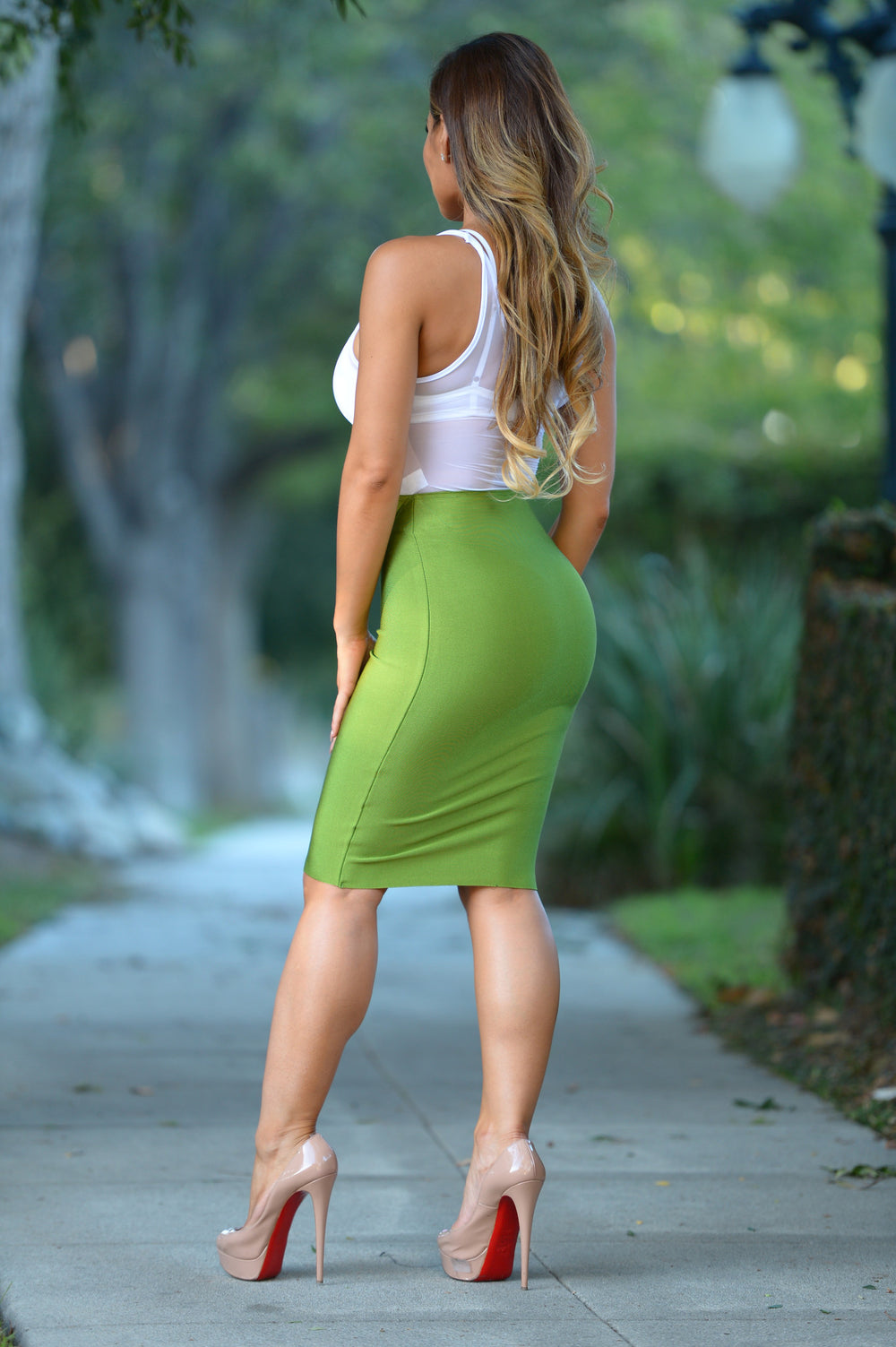 Luxe Pencil Skirt - Olive