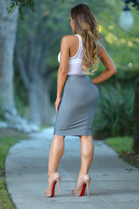 Luxe Pencil Skirt - Charcoal