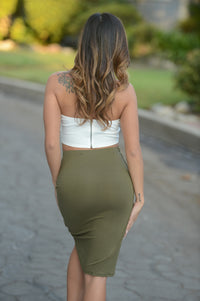 Simple Asymmetric Skirt - Olive