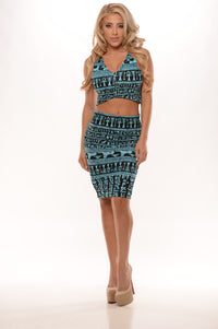 Egyptian Midi Pencil Skirt - Blue