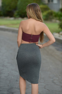 Simple Asymmetric Skirt - Charcoal Angle 2