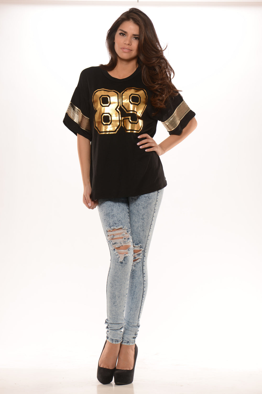 """89"" Print Short Sleeve Box Top - Black"