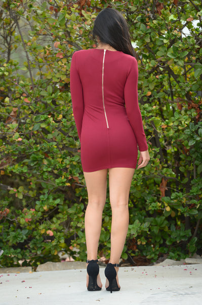 Disturbia Dress - Burgundy