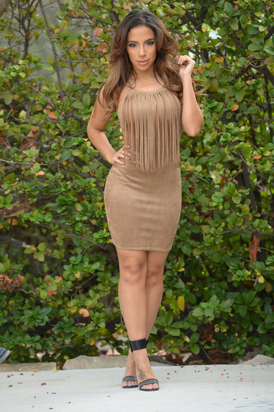 Fringe with Benefits Dress - Camel