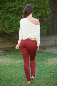 Essential Pants - Burgundy Angle 4