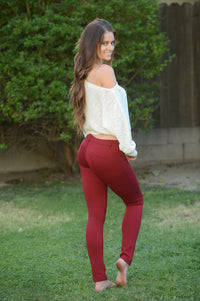 Essential Pants - Burgundy Angle 7