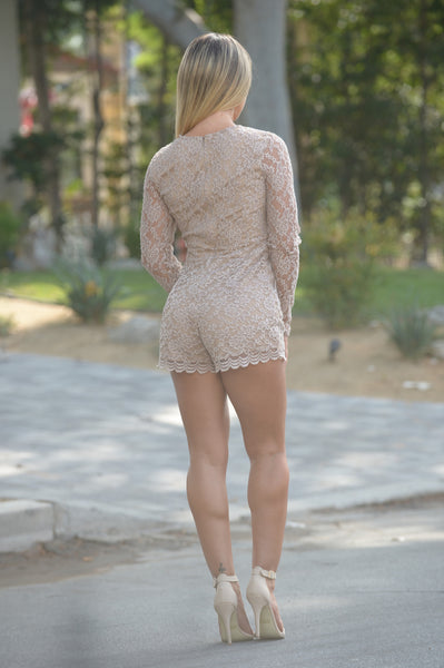 Interlaced Romper - Taupe