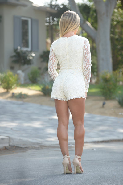 Interlaced Romper - Ivory