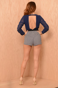 Corporate Ladder Romper - Navy