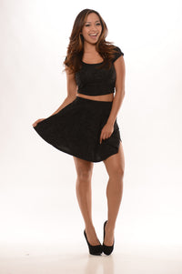 Embossed With Flowers Skirt - Black Angle 1