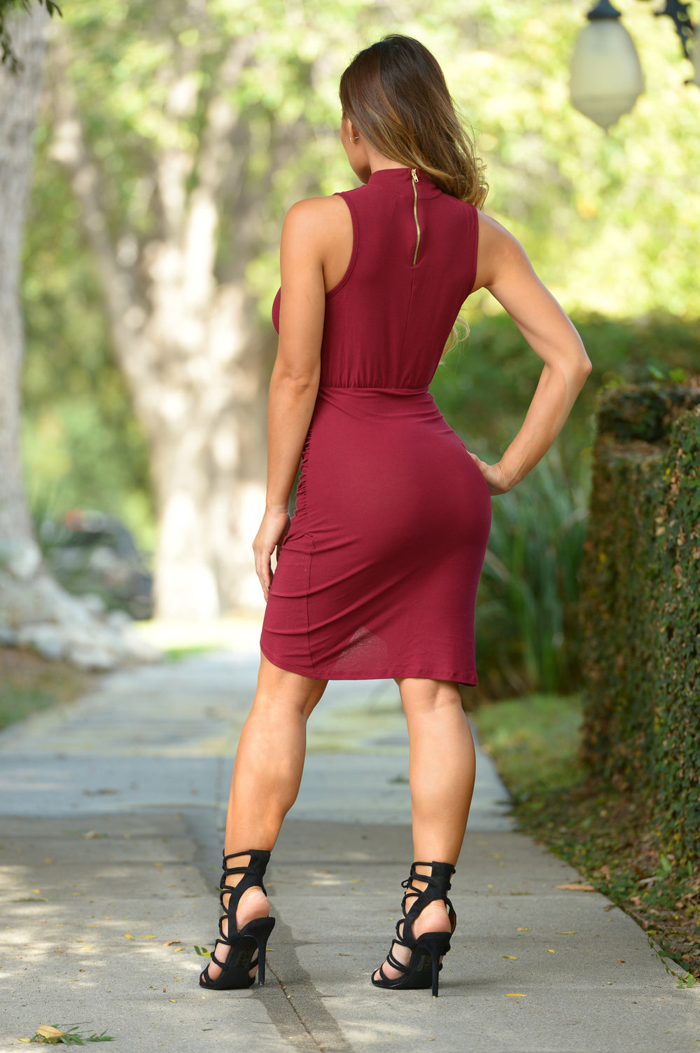 White Collar Crime Dress - Burgundy