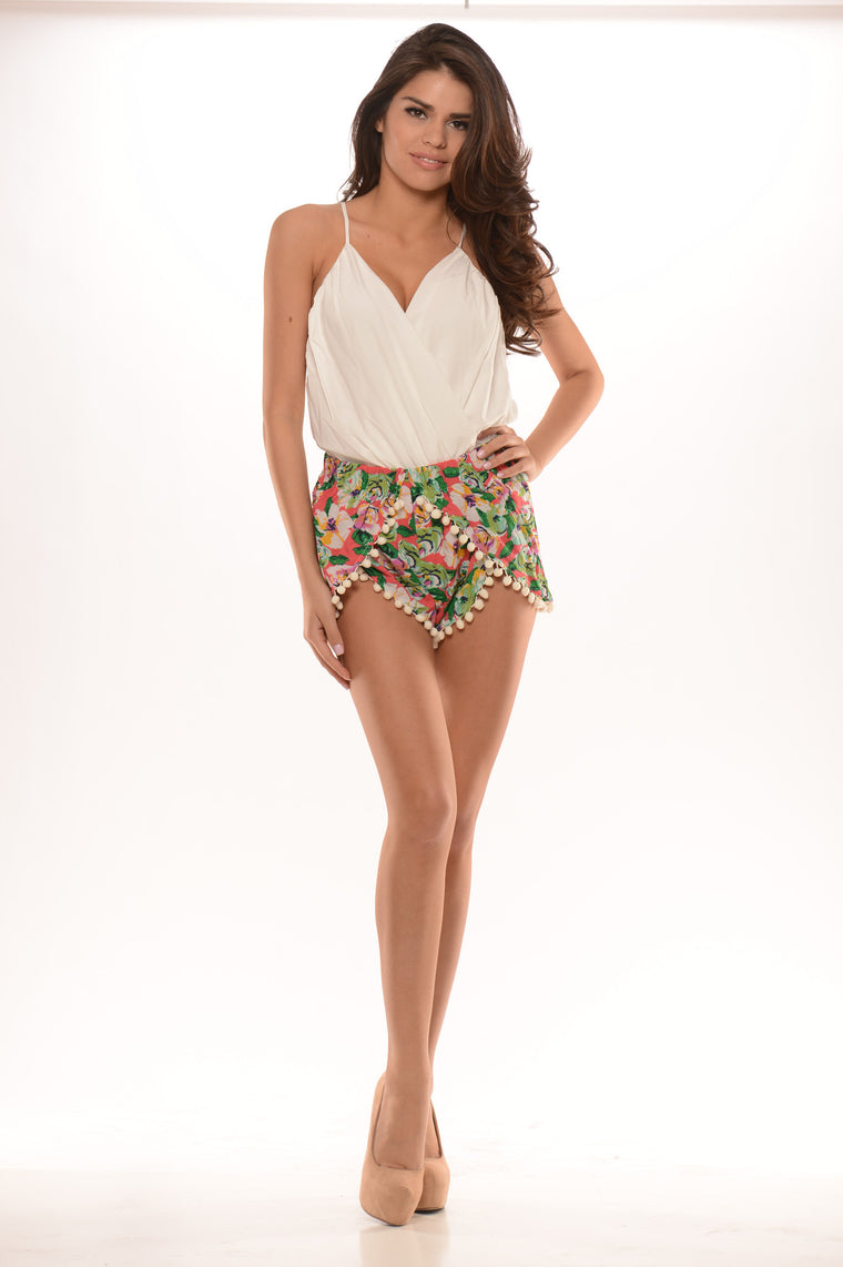 Floral Shorts with Fringe - Ivory
